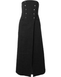 Черная юбка-миди в вертикальную полоску
