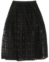 6cbc321174a Черная юбка-миди из фатина со складками от Milly