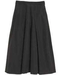 Черная юбка-миди со складками
