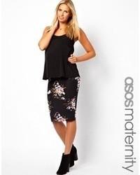Черная юбка-миди с цветочным принтом от Asos Maternity