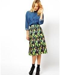Черная юбка-миди с цветочным принтом от Asos