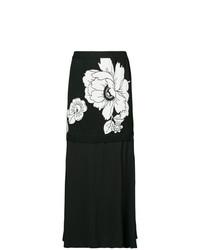 Черная юбка-миди с цветочным принтом от Boutique Moschino