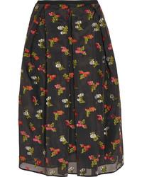 Черная юбка-миди с цветочным принтом от Erdem