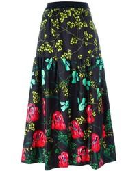 Черная юбка-миди с цветочным принтом от I'M Isola Marras