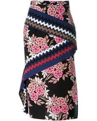 Черная юбка-миди с цветочным принтом от MSGM