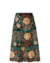 Черная юбка-миди с цветочным принтом от RED Valentino