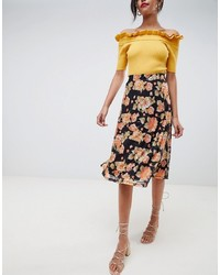 Черная юбка-миди с цветочным принтом от Vila