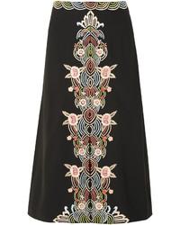 Черная юбка-миди с цветочным принтом от Vilshenko