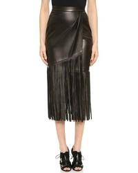 Черная юбка-миди c бахромой
