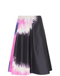 Черная юбка-трапеция с принтом тай-дай от Prada