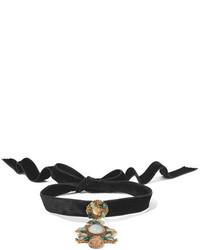 Черное бархатное ожерелье-чокер от Erickson Beamon