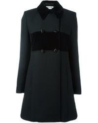 Женское черное бархатное пальто от Saint Laurent