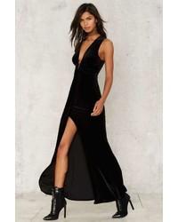 Женское черное бархатное платье-макси с разрезом от Nasty Gal