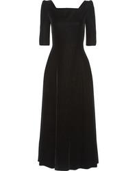 Женское черное бархатное платье-миди от Saint Laurent