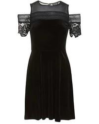 Женское черное бархатное платье с плиссированной юбкой