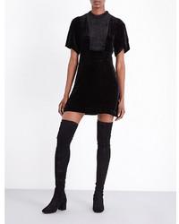 Женское черное бархатное платье с пышной юбкой от Maje