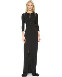 Женское черное вечернее платье с разрезом от Antonio Berardi