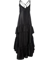 Женское черное вечернее платье с рюшами
