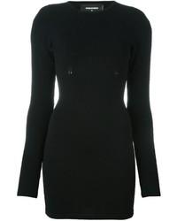 Черное вязаное облегающее платье