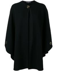 Черное вязаное пальто-накидка от Salvatore Ferragamo