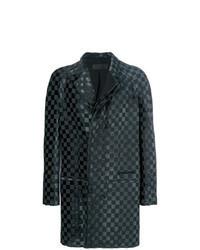 Черное длинное пальто в клетку