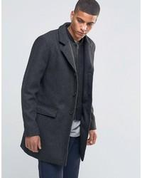 """Черное длинное пальто с узором """"в ёлочку"""""""