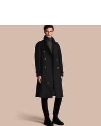 Мужское черное длинное пальто от Burberry