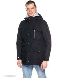 Мужское черное длинное пальто от Jack Wolfskin
