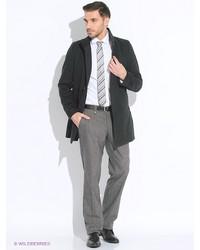 Мужское черное длинное пальто от Oodji