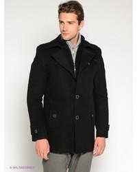 Мужское черное длинное пальто от Sainy