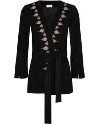 Женское черное кимоно c бахромой