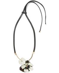 Женское черное кожаное колье от Marni