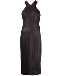Черное кожаное облегающее платье