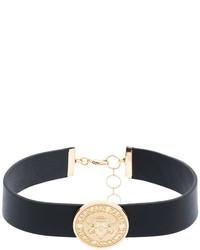 Женское черное кожаное ожерелье-чокер от Balmain