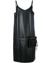 Женское черное кожаное платье прямого кроя