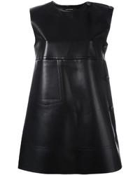 Женское черное кожаное платье прямого кроя от Cédric Charlier