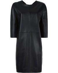 Женское черное кожаное платье прямого кроя от Maison Margiela