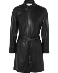 Черное кожаное платье-рубашка