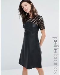 Женское черное кожаное платье с плиссированной юбкой
