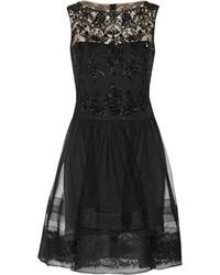 Женское черное коктейльное платье из фатина от Notte by Marchesa