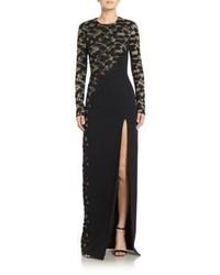 Черное кружевное вечернее платье с вышивкой
