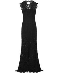 Женское черное кружевное вечернее платье с вышивкой от Rachel Zoe