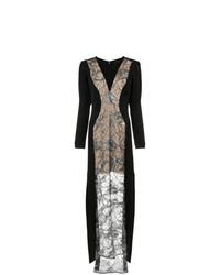 Женское черное кружевное вечернее платье с вышивкой от Tufi Duek