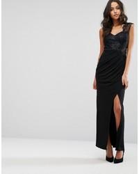 Женское черное кружевное вечернее платье с разрезом от Lipsy