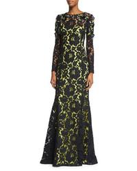 Черное кружевное вечернее платье с украшением