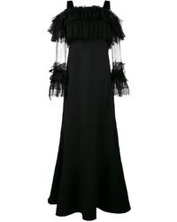 Женское черное кружевное вечернее платье от Alberta Ferretti