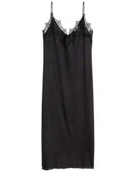 Черное кружевное платье-комбинация