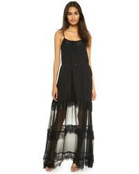 Черное кружевное платье-макси