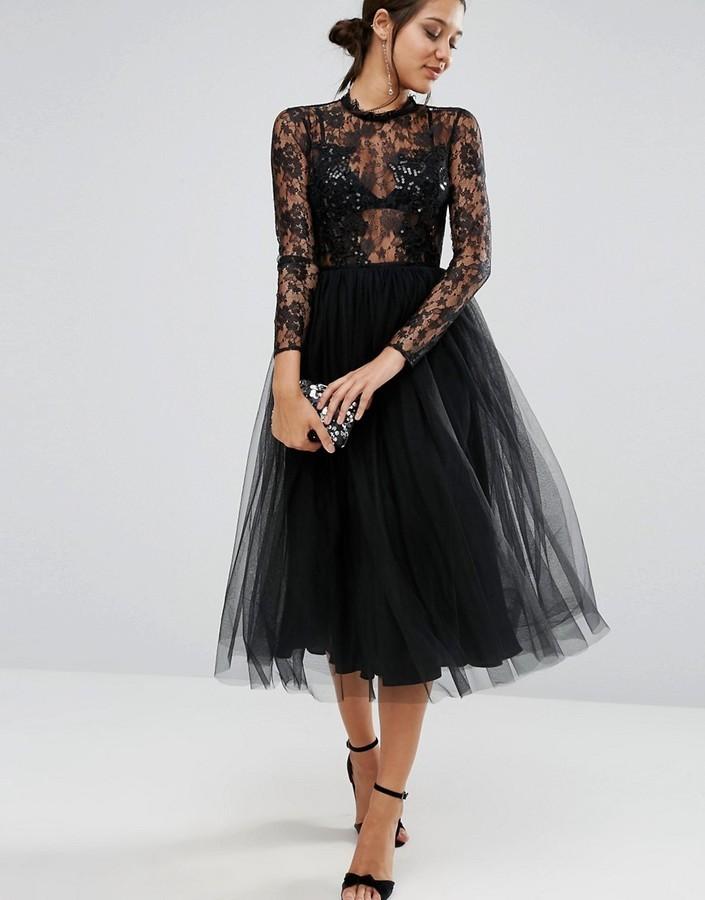 b0ecbfd0f31 ... Черное кружевное платье-миди от Asos ...