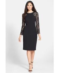 Черное кружевное платье-футляр